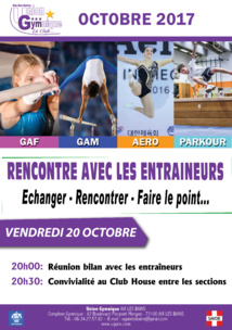 RENCONTRE AVEC LES ENTRAÎNEURS - Vendredi 20 Octobre 2017