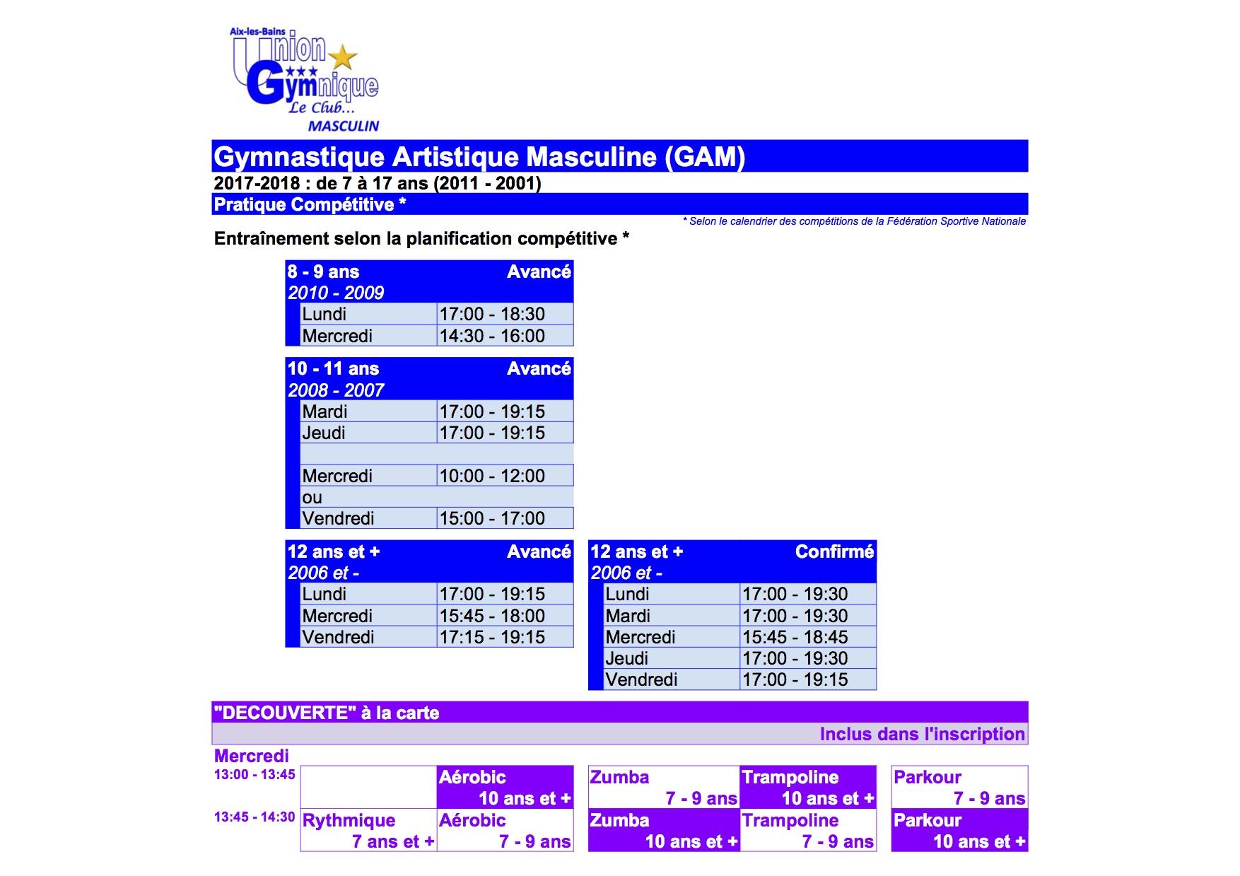 GYM Garçons - Planning